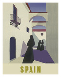 Spain - Spanish Women in Black Mantillas Giclee Print by Guy Georget