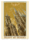 Tournai, Belgium - The Cathedral of Our Lady - Belgian National Railways Prints by Armand Massonet