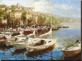 Harbor Bay Stretched Canvas Print by  Furtesen