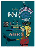 Africa - Fly by BOAC (British Overseas Airways Corporation) Prints