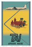 Afrique Noire (Sub-Saharan Africa) - TAI Airline Posters por Bernard Villemot