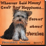 Yorkies = Happiness Stretched Canvas Print by Janet Kruskamp