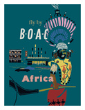 Africa - Fly by BOAC (British Overseas Airways Corporation) Giclée-tryk