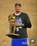 Marreese Speights with the NBA Championship Trophy Game 6 of the 2015 NBA Finals Photo