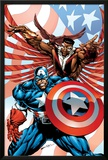 Captain America And The Falcon No.2 Cover: Captain America and Falcon Posters by Bart Sears