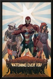 Avengers: The Initiative No.26 Cover: Iron Patriot, Task Master and The Hood Fighting Posters by Matteo De Longis