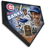 Ernie Banks Home Plate Plaque Wall Sign