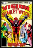 Vision And The Scarlet Witch No.4 Cover: Magneto, Vision, Scarlet Witch, Quicksilver and Crystal Print by Rick Leonardi