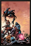 Spider-Man: Breakout No.1 Cover: Spider-Man, Iron Clad, Vapor, Vector, X-Ray and U-Foes Fighting Prints by Manuel Garcia