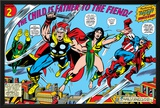 Giant-Size Avengers No.1 Group: Thor, Captain America, Iron Man, Vision and Mantis Flying Posters by Rich Buckler