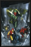 Secret Invasion No.2 Cover: Vision, Iron Man, Spider-Man, Luke Cage and Beast Print