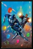 Punisher Vs. Bullseye No.4 Cover: Punisher and Bullseye Smashing Prints by Mark Texeira