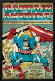 Marvel Comics Retro: Captain America Comic Panel; Smashing through Window (aged) Posters