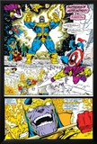 Infinity Gauntlet No.4 Group: Thanos, Captain America and Drax The Destroyer Poster by George Perez