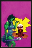 Howard The Duck No.3 Cover: She-Hulk and Howard The Duck Fighting Posters by Juan Bobillo