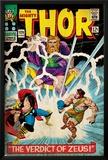 Marvel Comics Retro: The Mighty Thor Comic Book Cover No.129, The Verdict of Zeus, Hercules (aged) Prints