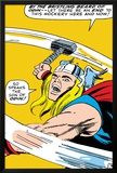 Marvel Comics Retro: Mighty Thor Comic Panel, Swinging Hammer Print
