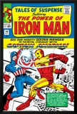 Marvel Comics Retro: The Invincible Iron Man Comic Book Cover No.58, Facing Captain America Prints