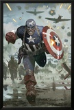 Captain America No.615 Cover: Captain America Running with his Shield Print by Daniel Acuna