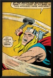 Marvel Comics Retro: Mighty Thor Comic Panel, Swinging Hammer (aged) Prints