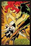 Marvel Comics Retro: X-Men Comic Panel, Phoenix, Emma Frost, Fighting (aged) Prints