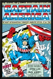 Marvel Comics Retro: Captain America Comic Panel; Smashing through Window; Red, White and Blue Prints