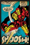 Marvel Comics Retro: The Invincible Iron Man Comic Panel, Fighting and Shooting, Shoosh! (aged) Prints