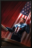 Captain America No.613 Cover: Captain America Standing in Front of the American Flag Print by Marko Djurdjevic
