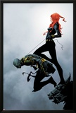 Widowmaker No.2 Cover: Black Widow Holding Another By a Rope Prints by Jae Lee