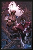 Wolverine Weapon X No.16 Cover: Nightcrawler and Wolverine Crouching in a Tree at Night Poster by Ron Garney