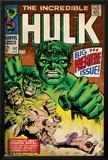 Marvel Comics Retro: The Incredible Hulk Comic Book Cover No.102, Big Premiere Issue (aged) Poster