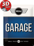 Mini - Garage Blue Plaque en métal