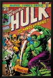 Marvel Comics Retro: The Incredible Hulk Comic Book Cover No.181, with Wolverine (aged) Prints