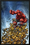 Avenging Spider-Man No.2 Cover: Spider-Man and Red Hulk Fighting Moloids Prints by Joe Madureira