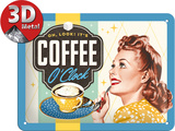 Coffee O'Clock Tin Sign