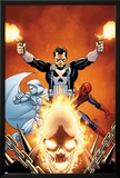 Shadowland No.3 Cover: Ghost Rider, Moon Knight, Spider-Man, and Punisher Posing Print by John Cassaday