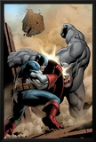 Marvel Adventrues Super Heroes No.5 Cover: Captain America and Rhino Fighting Poster por Clayton Henry