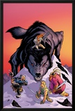 Warriors Three No.4 Cover: Volstaag, Hogun and Fandral Fighting a Wolf in the Snow Posters by Amanda Conner