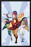 Iron Age: Omega No.1 Cover: Iron Man, Iron Fist, Dazzler, Cyclops, Captain Britain and Others Posters by Ariel Olivetti