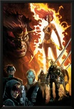 Age of Apocalypse No.1 Cover: Phoenix Standing and Flaming, with Wolverine and Others Prints by Humberto Ramos