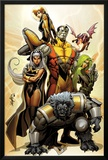 Astonishing X-Men No.38 Cover: Storm, Beast, Colossus, Kitty Pryde, Lockheed, & Agent Abigail Brand Prints by Salvador Larroca