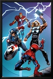 Ultimate Spider-Man No.157 Cover: Spider-Man, Captain America, Thor, and Iron Man Posters by Mark Bagley
