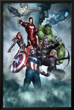 Avengers Assemble Artwork with Thor, Hulk, Iron Man, Captain America, Hawkeye, Black Widow, Loki Print