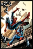 Spectacular Spider-Man No.16 Cover: Spider-Man and Captain America Fighting Art by Michael Ryan