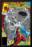 Amazing Spider-Man No.328 Cover: Hulk and Spider-Man Crouching Poster by Todd McFarlane