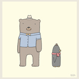 Bear and Penguin Portrait Art by Reza Farazmand