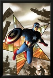 Captain America No.1 Cover: Captain America Jumping Poster by Steve MCNiven