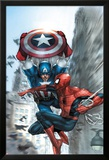 Avenging Spider-Man No.5 Cover: Spider-Man and Captain America Affiches par Leinil Francis Yu