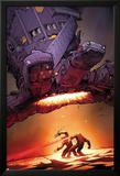 X-Men: Schism No.5 Cover: Wolverine and Cyclops Fighting with Sentinel Overhead Prints by Adam Kubert