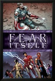 Fear Itself No.6 Cover: Captain America, Iron Man, Spider-Man, Wolverine, Spider Woman and Hawkeye Poster by Steve MCNiven